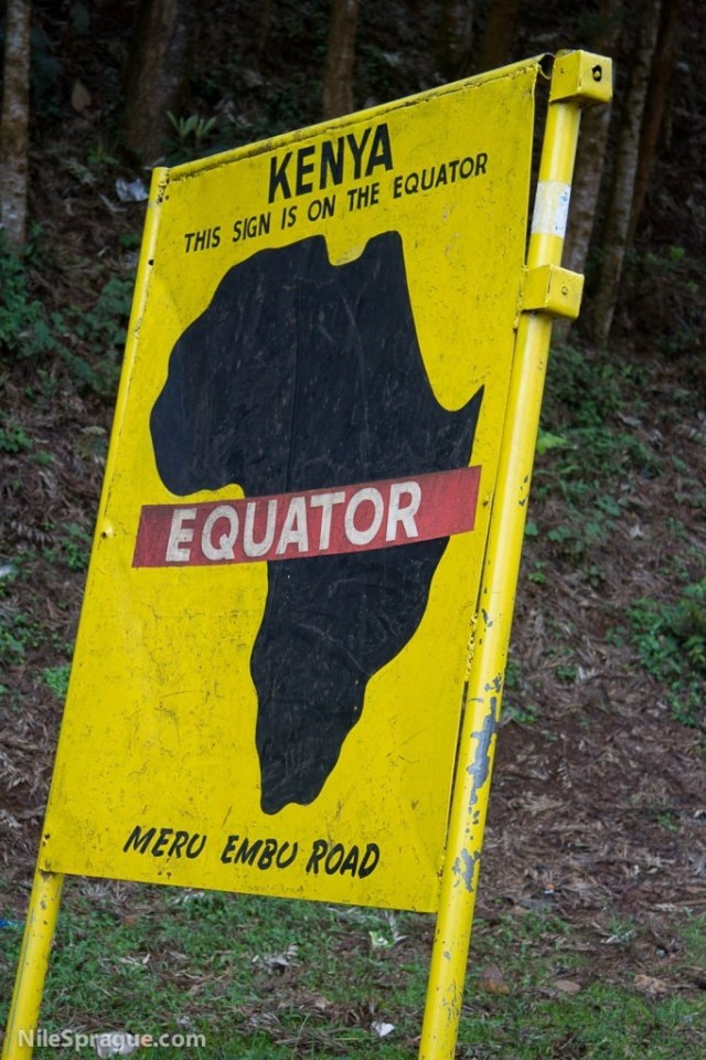 This sign is on the equator, Meru-Embu road, Kenya