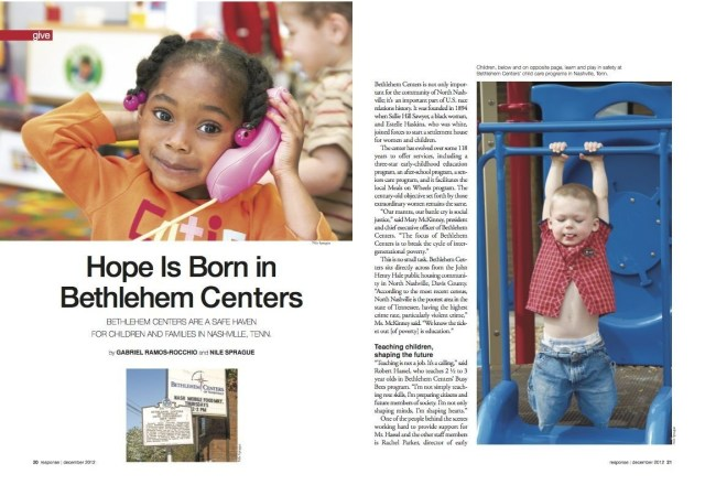 Response December 2012 Hope is Born in Bethlehem Centers