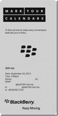 BlackBerry September 18 event Invitation