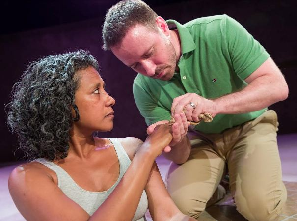 """Zuleyma Guevara and Zack Calhoon co-star in """"Water by the Spoonful,"""" which is at Premiere Stages in Union through July 24."""