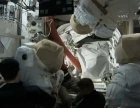 STS130 Day 4 EVA prep 556x430 Endeavour brings gear to turn urine into drinking water photo