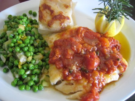Cod with diced tomatoes