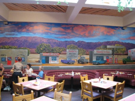 A mural depicts 4th Street in the 1950s