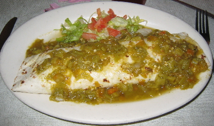 Mary & Tito's green chile burrito stuffed with guacamole and rice--one of the very best burritos in the universe!