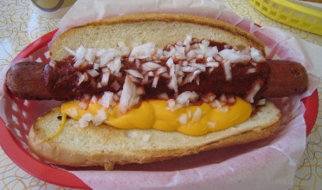 Chili dog with onions