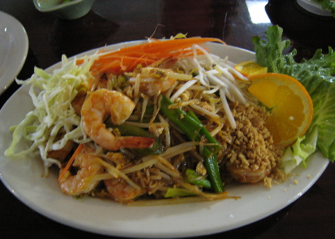 Pad Thai with shrimp.