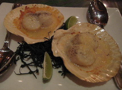 Fresh conchas (scallops) ala Parmesana