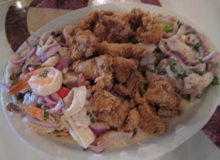 chicharonnes de pollo, ceviche de pesdado and ceviche de mariscos