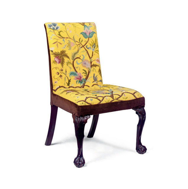 Floral Embroidered Mahogany Side Chair