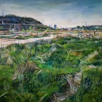 Oil painting of brownfield in Pittsburgh