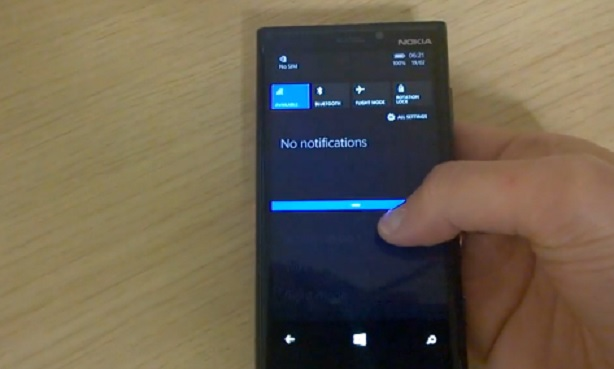 WP8.1 action centre