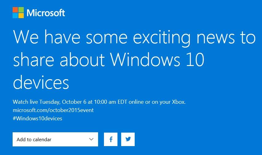 Microsoft will webcast October 6 Lumia 950 / 950 XL event ...