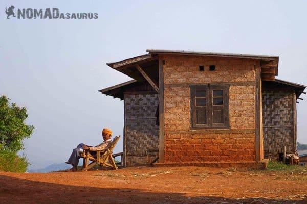 Sitting man people of Myanmar