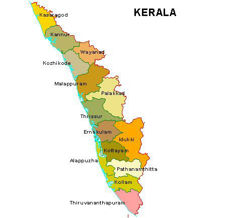 Tourist places to visit in Kerala - Kerala Map