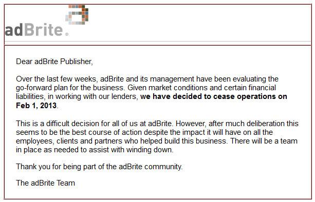 adbrite shutdown