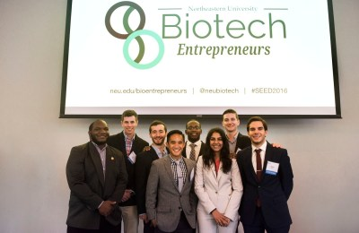 The winning groups pose for a photo during the Biotech Entrepreneurs contest
