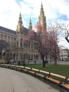 This is Rathaus, the city hall of Vienna, where Sahakian spent Easter.