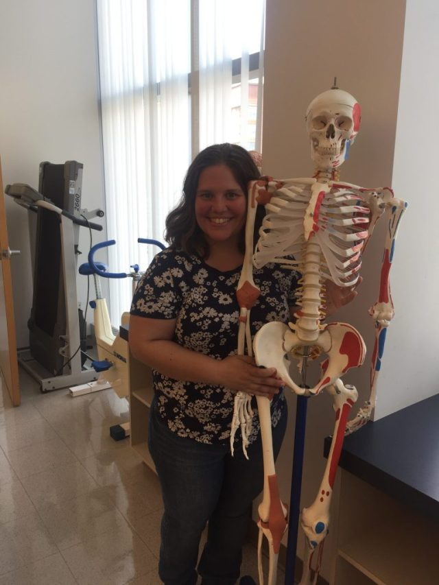Jennifer with a skeleton