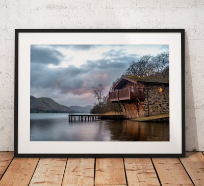 Lake District Landscape Photography, Ullswater Boathouse, Pooley bridge, Winter, Cumbria, England. Landscape Photo. Mounted print. Wall Art.