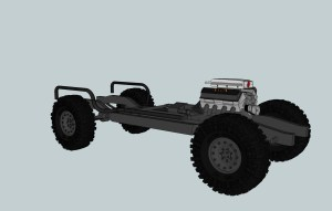 3D model Suburban chassis with 454 engine