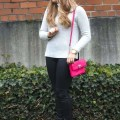 Neutrals with a pop of pink - winter fashion