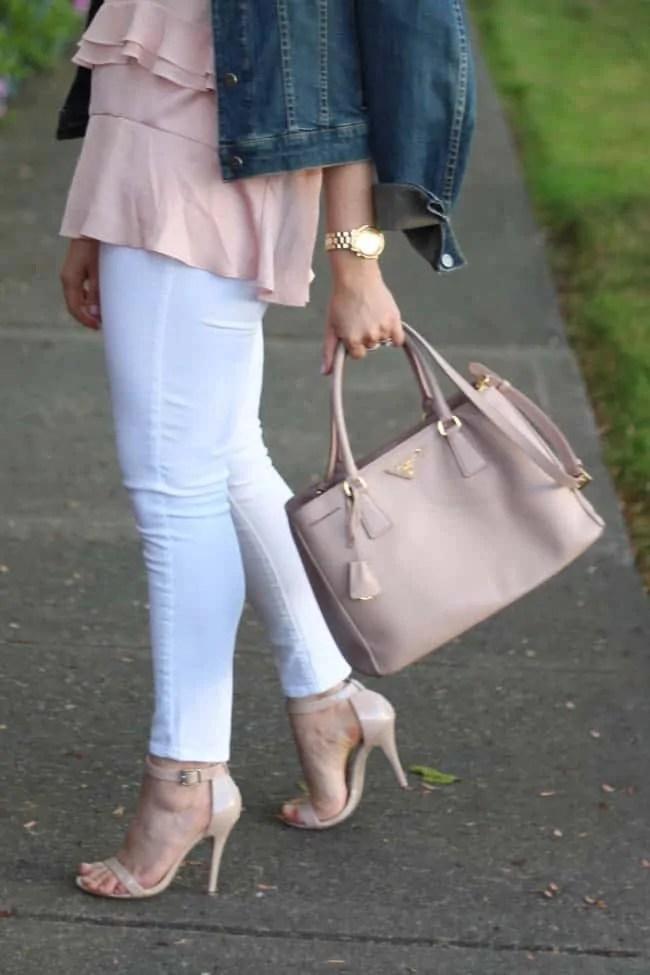 white jeans + blush denim