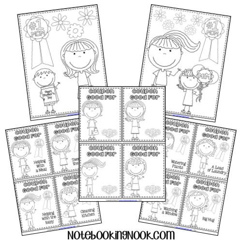 Free Mother's Day Notebooking Pages, Coloring Pages