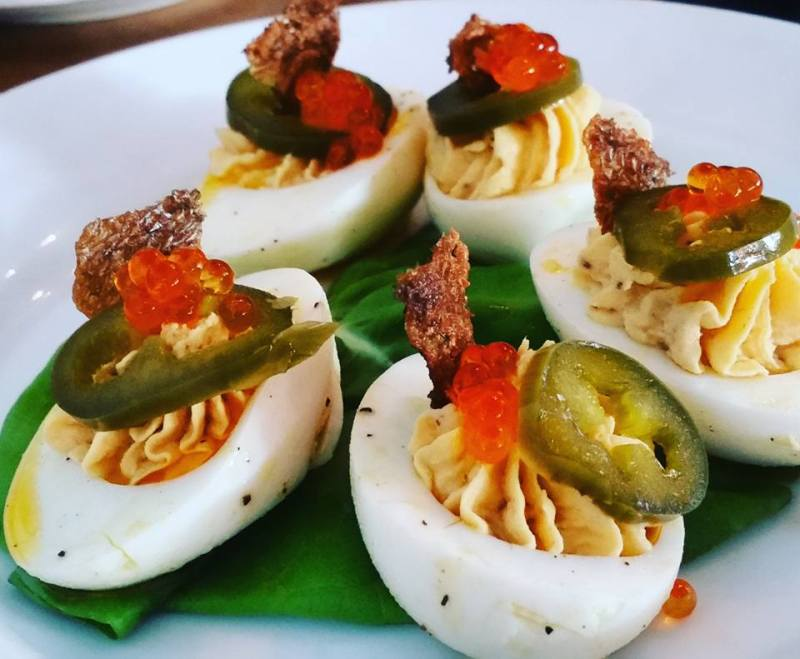 Smoked Trout Deviled Eggs, trout roe, pickled jalapeno