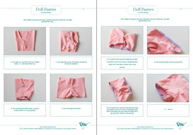 Doll Panties pattern and instructions by Atelier Björkåsa