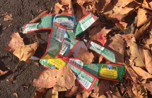 Bottle labels discarded amid leaves on a street.
