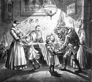 St. Nicholas and Krampus the devil visit a family.