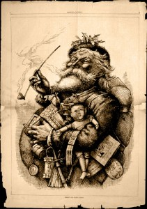 The modern image of Santa Claus was created by Thomas Nast in 1881.