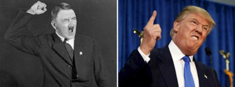 Adolf Hitler and Donald Trump vehemently gesturing.