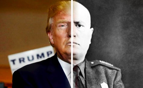 fascism composite image of donald trump and benito mussolini