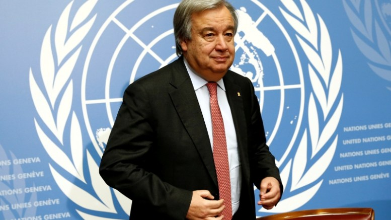 File picture of Guterres, UN High Commissioner for Refugees, at a news conference in Geneva