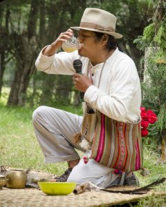 Shaman drinking Chicha de Jora