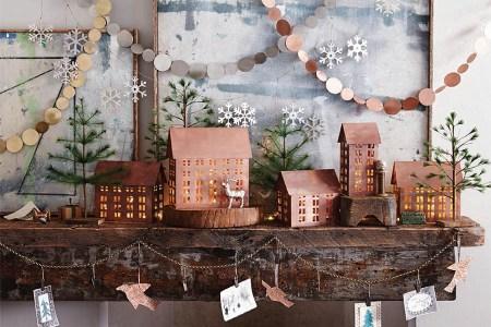 clic christmas copper mantel decorationb