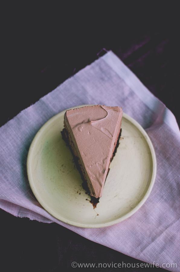 Triple Layer Hazelnut Mocha Chocolate Mousse Cake | The Novice Housewife