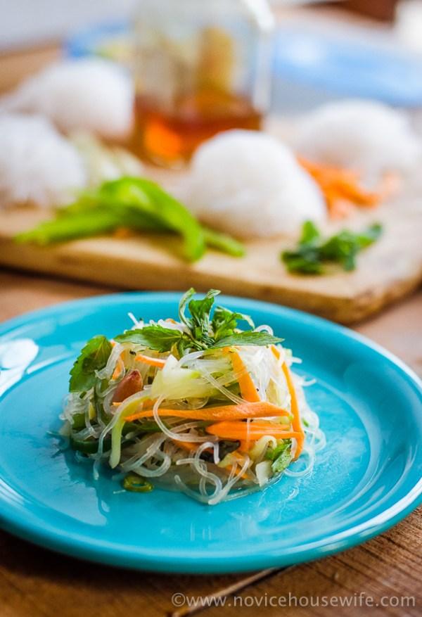 Gluten free, Vegan Thai Glass Noodle Salad | The Novice Housewife