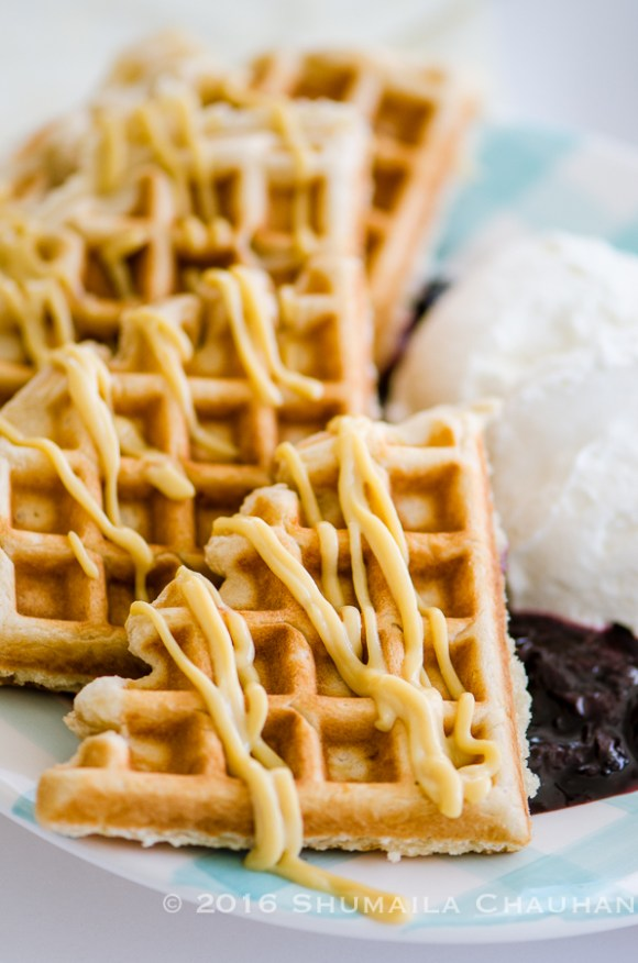 Lemon Waffles with Blueberry Compote