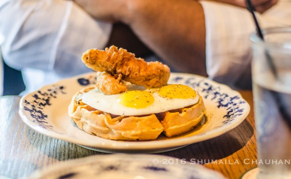 Chicken and waffles at Ida Claire