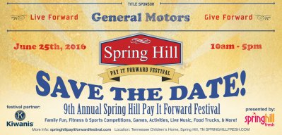 9th annual spring hill pay it forward festival for Young motors shelbyville tn