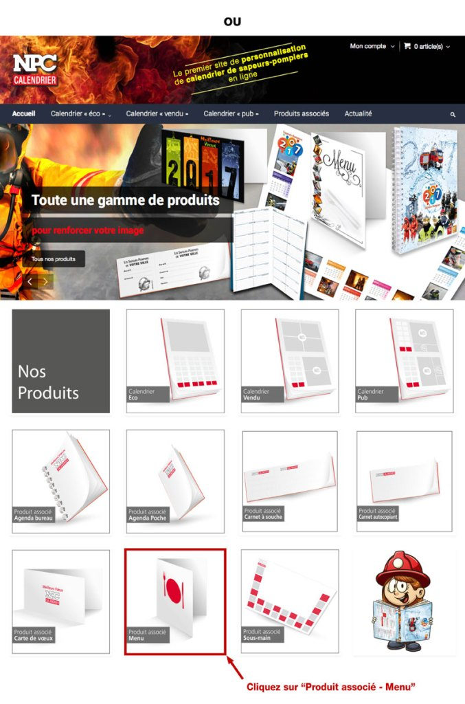 tutoriel de personnalisation en ligne de calendrier de sapeur-pompier 1, npc-calendrier.fr