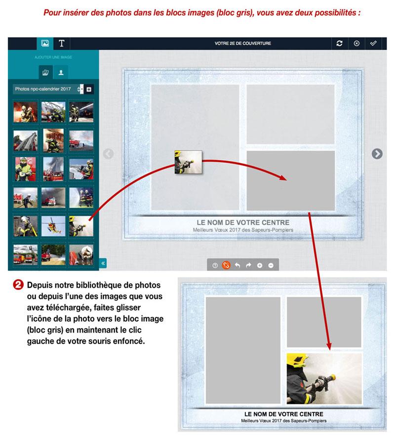 tutoriel de personnalisation en ligne de calendrier de sapeur-pompier 7, npc-calendrier.fr