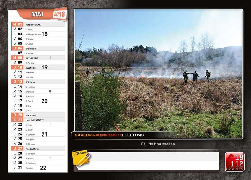 calendrier des sapeurs-pompiers de Egletons-2018-4, npc-calendrier.fr