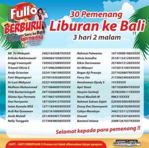 230 Pemenang Fullo Berburu (Berliburan Seru) Ke Bali