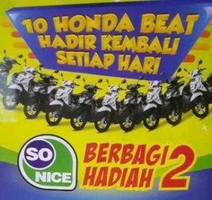 Promo Undian So Nice Berbagi Tahap 2 : Berhadiah 10 Honda Beat Setiap Hari