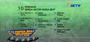 Pemenang Harian 10 Honda Beat Sonice Tahap 2 (17/11/2015)