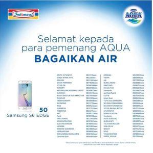 50 Pemenang Samsung S6 Aqua Bagaikan Air (Indomaret)