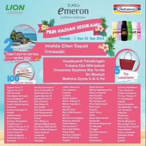 107 Pemenang Emeron - Indomaret (Pilih Hadiah Sesukamu)